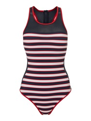 Tommy Hilfiger Nautical Mesh Swimsuit Navy And Red