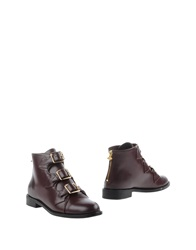 F Troupe Ankle Boots Maroon