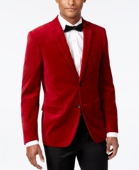 Alfani Velvet Slim Fit Sport Coat Red