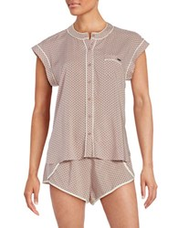 Calvin Klein Contrast Trim Cap Sleeve Top And Shorts Pajama Set Dot