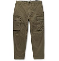 Alex Mill City Cropped Cotton Blend Twill Cargo Trousers Army Green