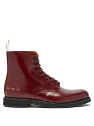 Common Projects Lace Up Leather Ankle Boots Burgundy
