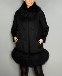 The Fur Vault Tibetan Lamb Trim Walker Coat