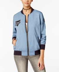 Say What Juniors' Patch Bomber Jacket Chambray
