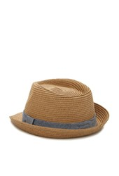 Forever 21 Chambray Band Straw Fedora Natural