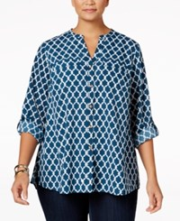 Charter Club Plus Size Printed Shirt Only At Macy's Cerulean Night Combo