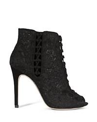 Karen Millen Lace High Heel Peep Toe Booties Black