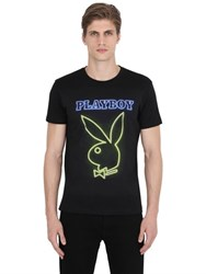 Playboy Bunny Printed Cotton Jersey T Shirt