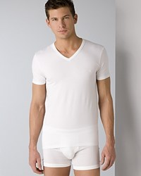 Emporio Armani Stretch Cotton V Neck T Shirt White