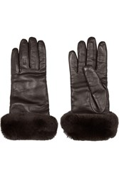 Valentino Shearling Trimmed Leather Gloves Brown