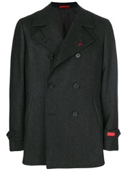 Isaia Double Breasted Coat Cupro Cashmere Wool Grey