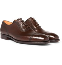 George Cleverley Adam Cap Toe Burnished Leather Oxford Brogues Brown