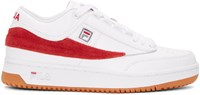 Gosha Rubchinskiy White And Red Fila Edition T 1 Mid Top Sneakers