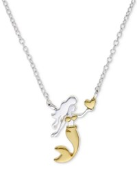 Unwritten Two Tone Mermaid 18 Pendant Necklace In Sterling Silver And Gold Flash Silver Gold