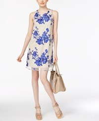 Eci Tie Back Embroidered Mesh Dress Blue Nude