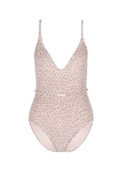 Zimmermann 'Valour Scoop Bar' Leopard Print One Piece Swimsuit Pink Animal Print