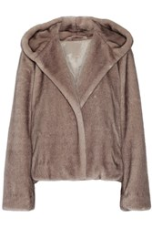 Helmut Lang Hooded Faux Fur Jacket Mushroom
