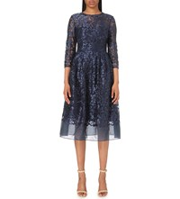 Ted Baker Floral Embroidered Lace Skater Dress Dark Blue