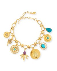 Sequin Multi Charm Bracelet W Crystals Turquoise