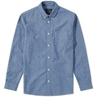 A.P.C. Geoffrey Chambray Shirt Blue