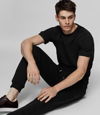 Reiss Homage Piped Cotton T Shirt In Black Mens