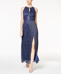 R And M Richards Metallic Knit Keyhole Halter Gown Blue