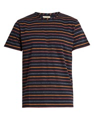 Oliver Spencer Breton Striped Cotton T Shirt Navy Multi