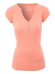 Jane Norman Ribbed Henley T Shirt Pink
