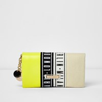 River Island Womens Lime Green Foldover Print Purse