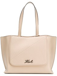 Karl Lagerfeld K Signature Quilted Shopper Bag Neutrals