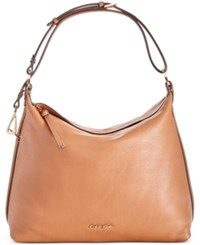 Calvin Klein Pebble Leather Hobo Only At Macy's Caramel