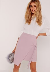 Missguided Crepe Tie Front Wrap Mini Purple Mauve