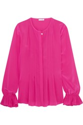 Oscar De La Renta Pleated Silk Satin Peplum Blouse Fuchsia