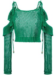 Philosophy Di Lorenzo Serafini Cut Off Detail Knitted Blouse Green