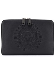 Balmain Embossed Logo Clutch Black