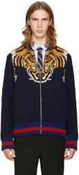 Gucci Navy Tiger Zip Up Sweater
