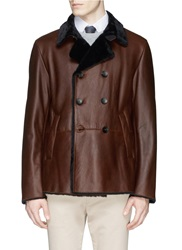 Armani Collezioni Double Breasted Shearling Leather Jacket Brown