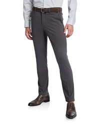 Neiman Marcus Solid Knitted Chino Pants Gray