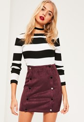 Missguided Purple Faux Suede Double Popper Detail Mini Skirt Plum