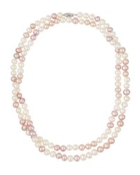 Belpearl Long 14K Pink And White Freshwater Pearl Necklace Women's