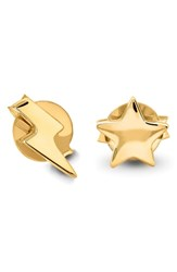 Missoma Star And Lightning Stud Earrings Gold
