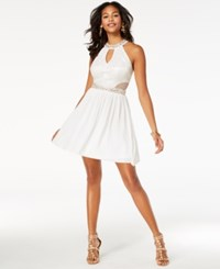 B. Darlin B Juniors' Sequined Lace Halter Dress Ivory Gold