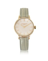 Locman 1960 Rose Gold Pvd Stainless Steel Women's Watch W Light Grey Python Embossed Leather Strap