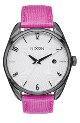 Nixon 'The Bullet' Leather Strap Watch 38Mm Hot Pink White