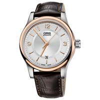 Oris 73375944331Ls Men's Classic Leather Strap Watch Black Silver