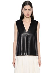 Lanvin V Neck Leather Top