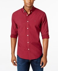 Tommy Hilfiger Men's Casey Tonal Check Long Sleeve Shirt Tawny Port