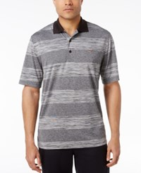 Greg Norman For Tasso Elba Men's Big And Tall Heathered Stripe Performance Sun Protection Golf Polo Only At Macy's Deep Black