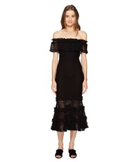 Jonathan Simkhai Ruffle Crochet Off The Shoulder Solid Gown Cover Up Black
