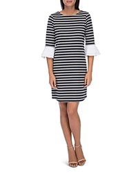 B Collection By Bobeau Tiered Bell Sleeve Dress Navy Stripe